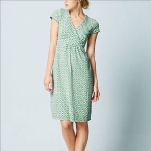 Boden chalky green mosaic print casual dress 8